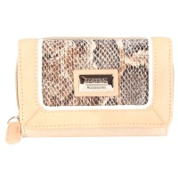 Lorenz Snake & Leather Grain PU Zip Round Purse with Wallet Section