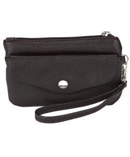 Economy Leather Grain PU  Purse with Flapover Front Pocket & Wrist Strap -LOW PRICE!