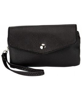Economy Leather Grain PU Flapover Twin Zip Purse with Wrist Strap-SPECIAL OFFER