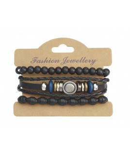 Leather Bracelet with Various Beading Details