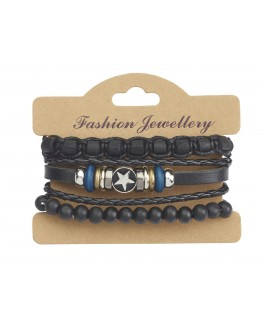 Leather Bracelet with Beading and Star Embossed Stud