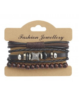 Leather Bracelet with Beading and Brushed Nickel Effect Stud