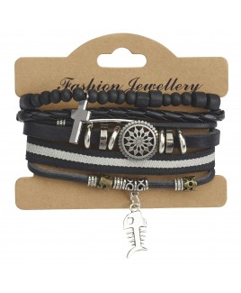 Leather Bracelet with Fish Skeleton Pendant Charm and Decorative Stud