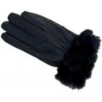 Ladies Sheep Nappa Glove with Fur Trim- BLACK