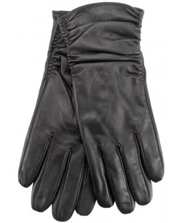Ladies Full Leather Glove with Rouched Effect