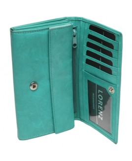 Cow Calf RFID Proof Flapover Concertina Purse with 2 Zips