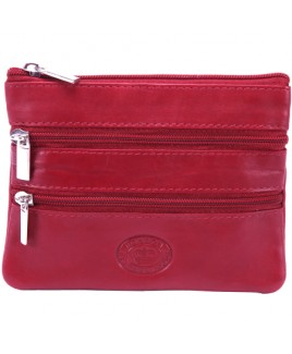 London Leathergoods Cow Nappa Two Zip Purse