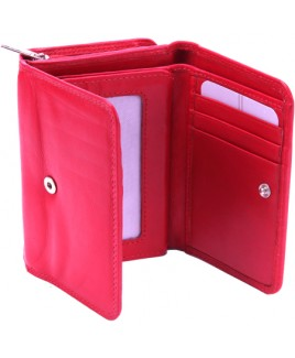 London Leathergoods Cow Nappa Zip RFID Proof Round Purse with Swing Section - BIG PRICE REDUCTIONS!