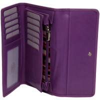 London Leathergoods Cow Nappa Long Matinee Purse with Back & Inner Zip. Non-RFID - 30% Discount!!