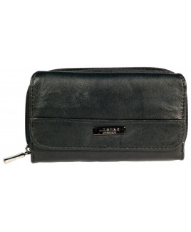 Lorenz Sheep Nappa Zip Round RFID Proof Purse Wallet