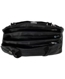 Lorenz Micro Fibre Triple Zip Handbag