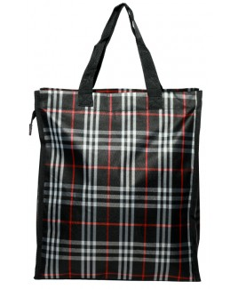 Top Zip Check Shopper with Front Zip Pocket