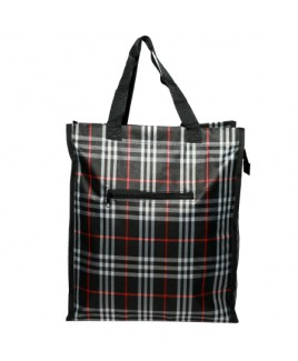 Top Zip Check Shopper with Front Zip Pocket