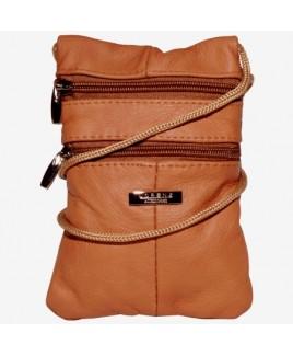 Lorenz Cowhide Triple Zip Neck Purse/Mini Bag
