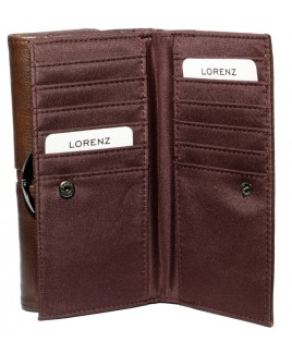 Lorenz Accessories Cowhide 17cm Double Sided RFID Proof Purse Wallet- Lower Price !