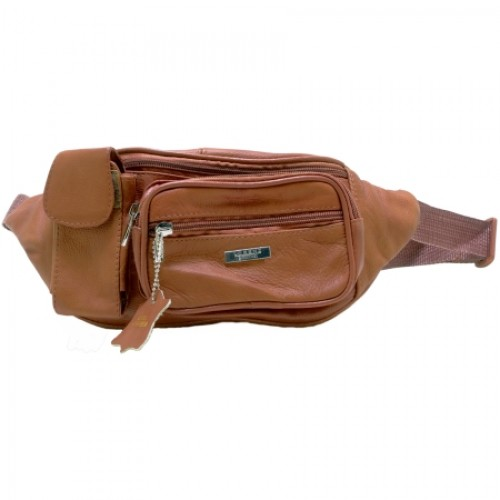 Lorenz Cow Hide Bum Bag with Zips & Phone Pocket