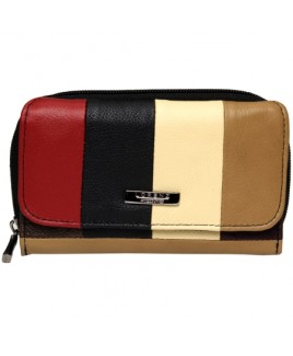 Lorenz Accessories Multi Cowhide Zip Round RFID Proof Purse- Price Drop !