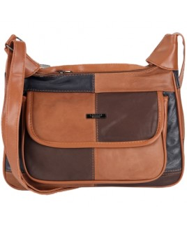 Lorenz Multi Sheep Nappa Twin Top Zip Bag with Front Flap