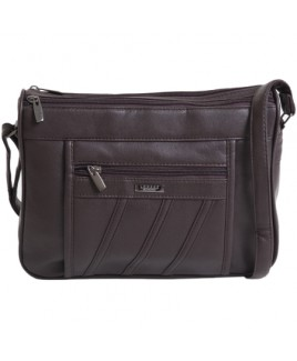 Lorenz Leather Grain PU Double Top Zip Shoulder Bag