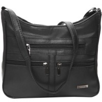 Lorenz Leather Grain PU Top Zip Bag with Front & Back Zips