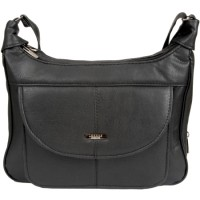 Lorenz Leather Grain PU Twin Top Zip Bag with Front Flap
