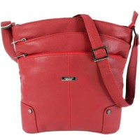 Lorenz Leather Grain PU Top Zip Bag with Front & Back Pockets