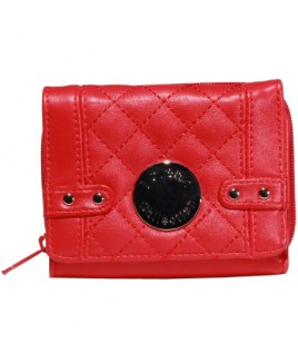 Lorenz Accessories Smooth Quilted PU Zip Round Purse -PRICE DROP !