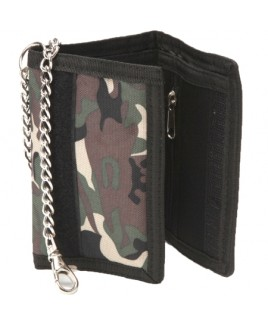Lorenz Camouflage Print Polyester Wallet with Chain