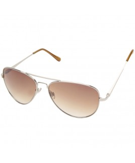 Aviator Style Sunglasses with Silver Metal Frame
