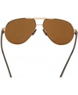 Aviator Style Sunglasses with Gold Metal Frame