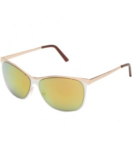 Clubmaster Sunglasses with White/Gold Finish Frames