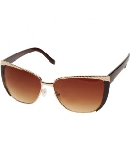 Cat Eye Style Sunglasses with Gold/Brown Frame