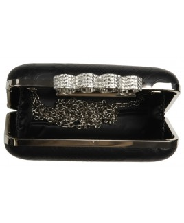 Snake Grain PU Clutch Bag with Silver Knuckle Rings