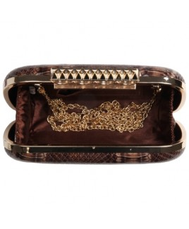Shiny Lizard Grain PU Clutch Bag with Gold Knuckle Rings