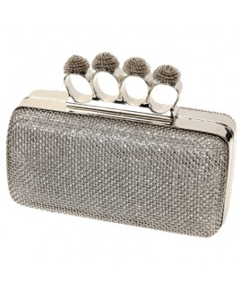 Metal Mesh Evening Clutch Bag with Knuckle Rings
